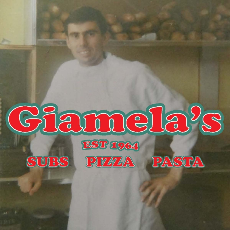 Giamelas logo pizza box old pic of Dad jpeg